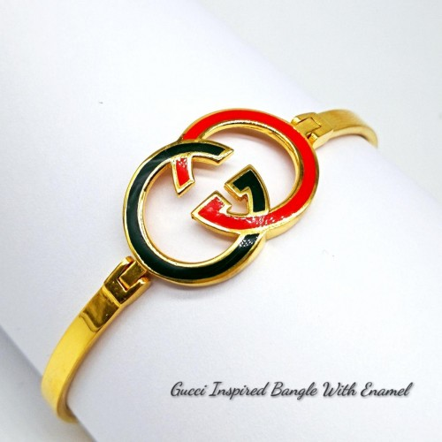 GUCCI INSPIRED BANGLE WITH ENAMEL